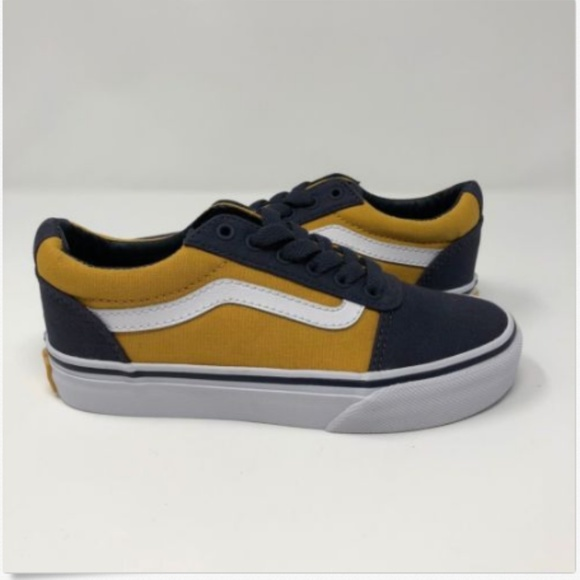080252af12014f Vans Boys Youth Size 13 Ward Navy Blue Yellow Canv